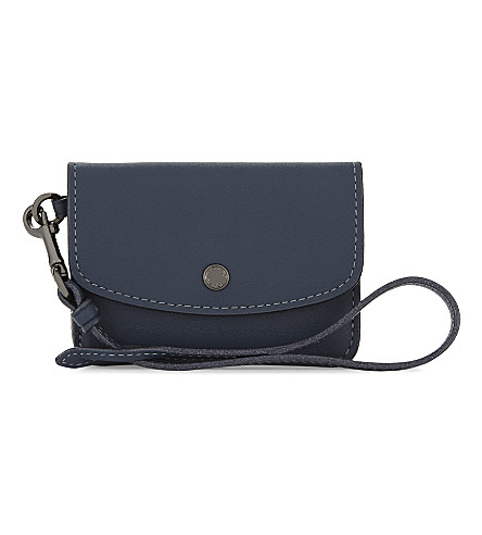 COACH Glitter edge leather card pouch (Dk/denim