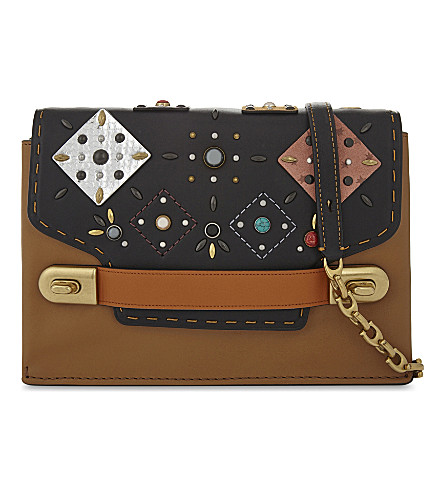 COACH Swagger patchwork leather cross-body bag (Ol/black+multi