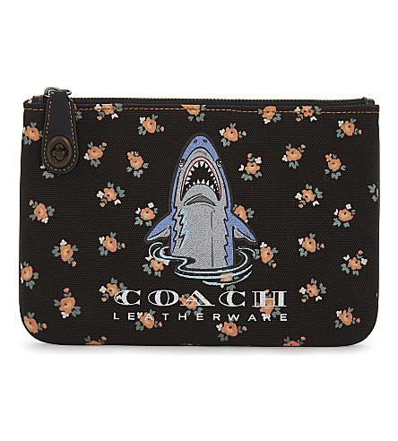 COACH Sharky turnlock canvas wristlet (Bp/black+multi