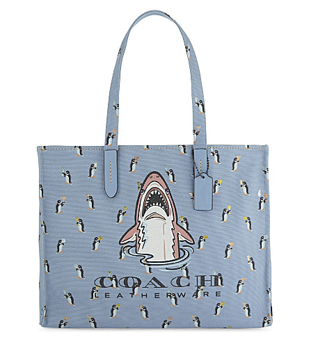 COACH Sharky canvas tote bag (Bp/cornflower+multi