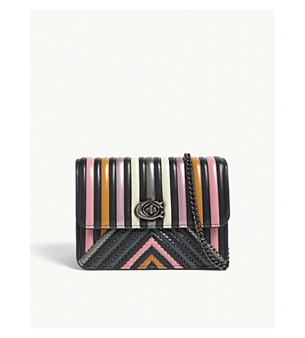 COACH Embossed stripe and chevron detail quilted leather Bowery cross-body bag (Dk/black+multi