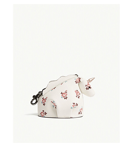 coach   floral unicorn leather coin case selfridges