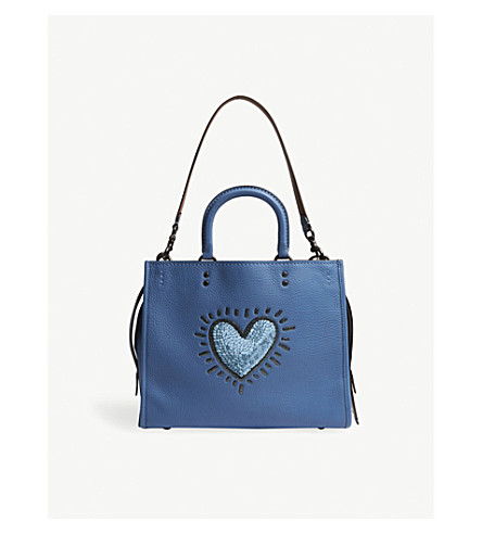 COACH Sequin heart pebbled leather tote (Bp/sky+blue