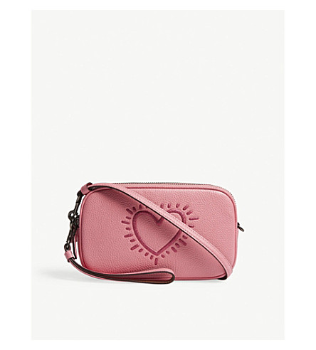 COACH Heart grained leather cross-body bag (Bp/bright+pink