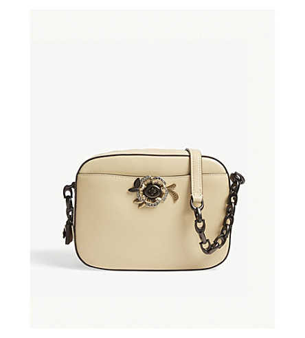COACH Tea rose-embellished leather camera bag (Bp/ice+yellow