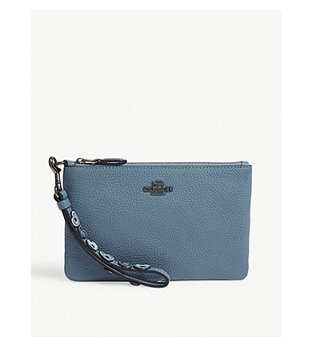 Small grained leather wristlet pouch