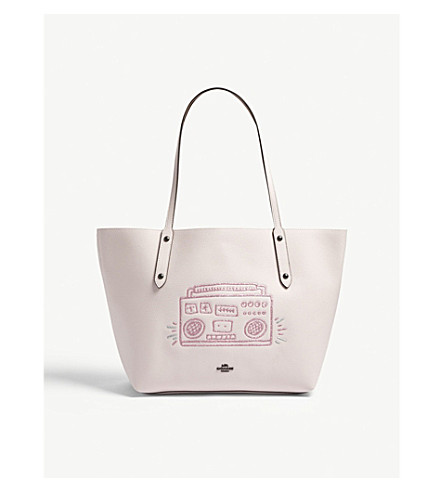 COACH Keith Haring boombox leather tote (Bp/ice+pink
