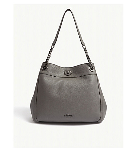 COACH Edie leather shoulder bag (Dk/heather+grey