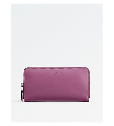 COACH Accordion glovetanned leather wallet (Dk/primrose