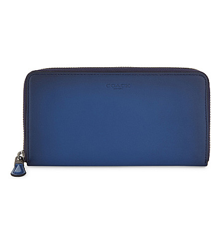 COACH Accordion glovetanned leather wallet (Dk/denim