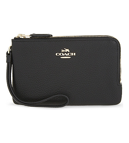 COACH Logo leather wristlet purse (Li/black