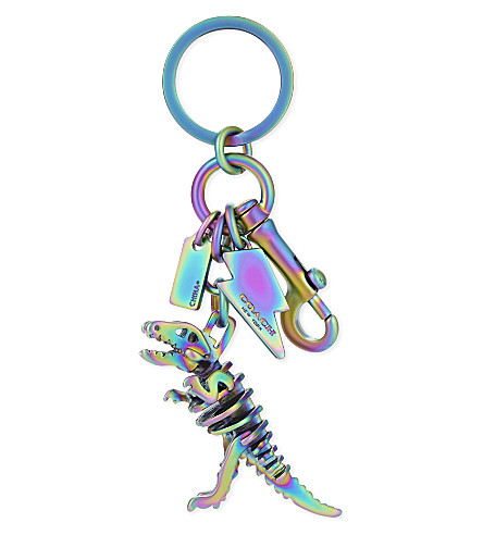 COACH T-Rex plated metal bag charm (Oilslick