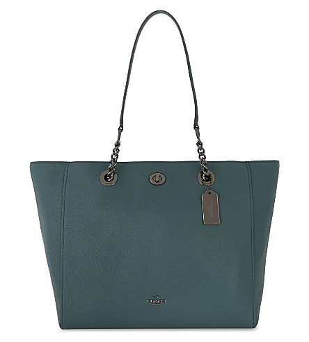 COACH Leather turnlock closure tote (Dark+turquoise