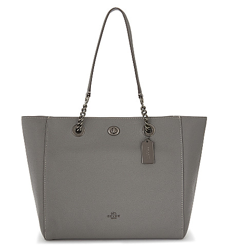 COACH Leather turnlock closure tote (Dk/heather+grey