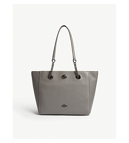 COACH Turnlock leather tote bag (Dk/heather+grey
