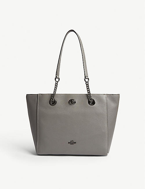 COACH Turnlock leather tote bag