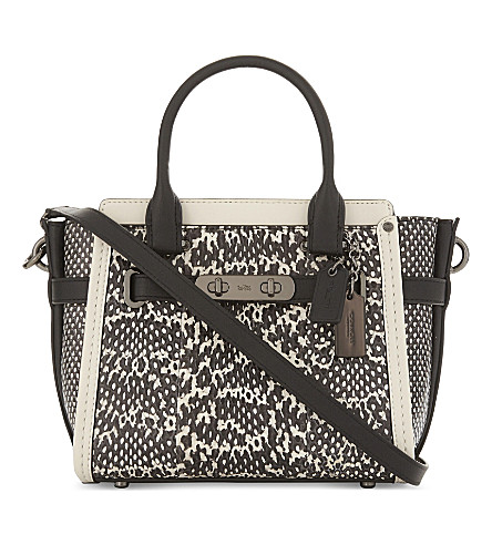 COACH Swagger snakeskin tote (Dk/chalk+black