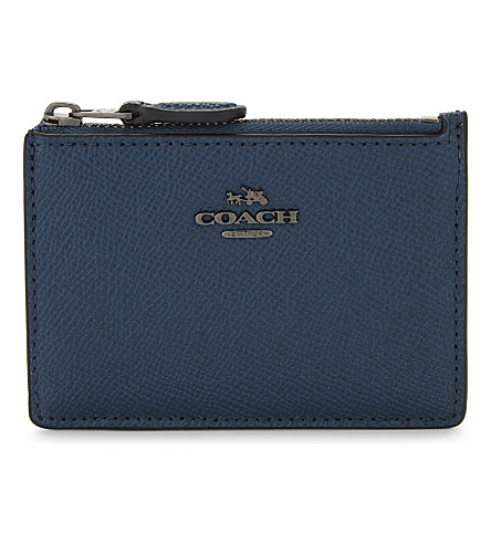 COACH Skinny mini textured leather card purse (Dk/mineral