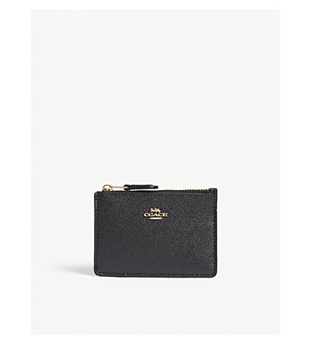 COACH Skinny mini textured leather card purse (Li/black