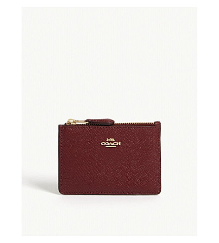 COACH Skinny mini textured leather card purse