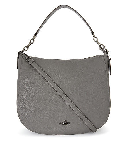 COACH Chelsea leather hobo 32 bag (Dk/heather+grey