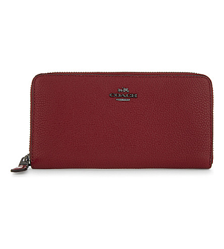 COACH Accordion grained leather continental wallet (Dk/cherry