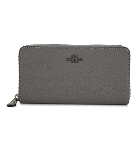 COACH Accordion grained leather continental wallet (Dk/heather+grey