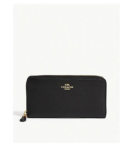 COACH Accordion grained leather continental wallet (Li/black