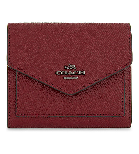 COACH Small textured leather wallet (Dk/cherry