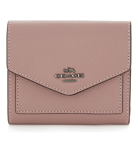 COACH Small textured leather wallet (Dk/dusty+rose