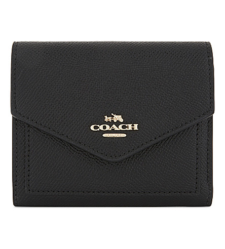 COACH Small textured leather wallet (Li/black