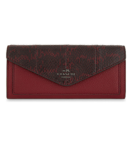 COACH Snake-embossed leather wallet (Dk/cherry