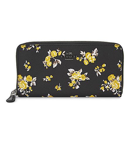 COACH Accordion floral-print leather continental wallet (Dk/prairie+print+black
