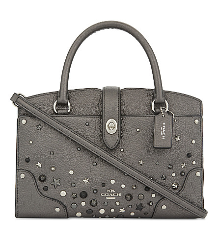 COACH Mercer studded leather tote (Sv/metallic+graphite