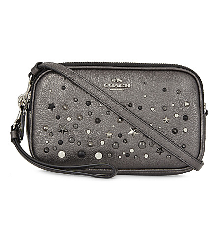 COACH Studs and stars leather cross-body bag (Sv/metallic+graphite