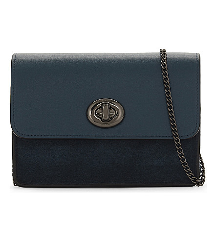 COACH Leather and suede cross-body bag (Dk/mineral