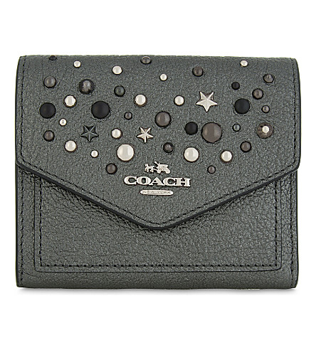 COACH Studs and stars small grained leather wallet (Sv/metallic+graphite