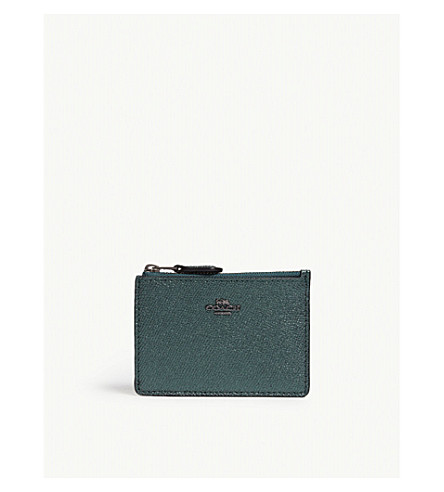 COACH Mini ID skinny leather wallet (Dk/metallic+ivy