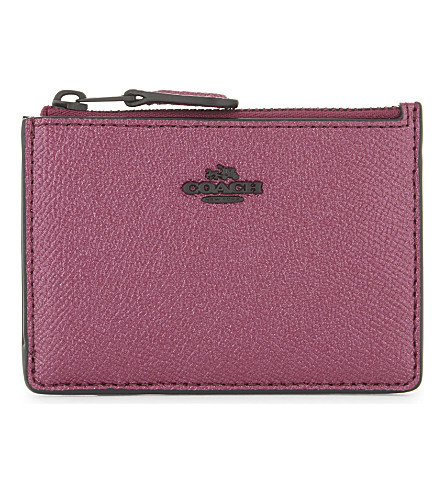 COACH Mini ID skinny leather wallet (Mw/metallic+mauve