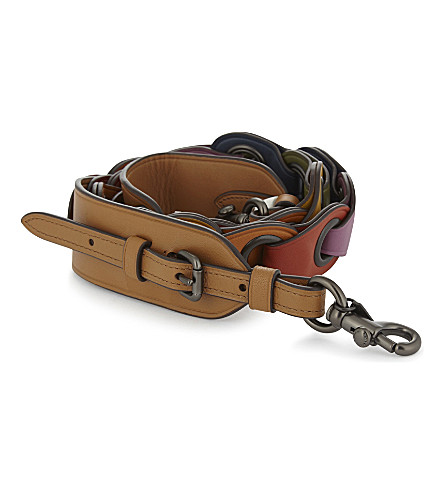 COACH Linked leather bag strap (Bp/rainbow