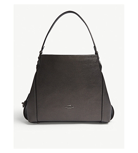 COACH Edie metallic leather shoulder bag (Gm/metallic+graphite