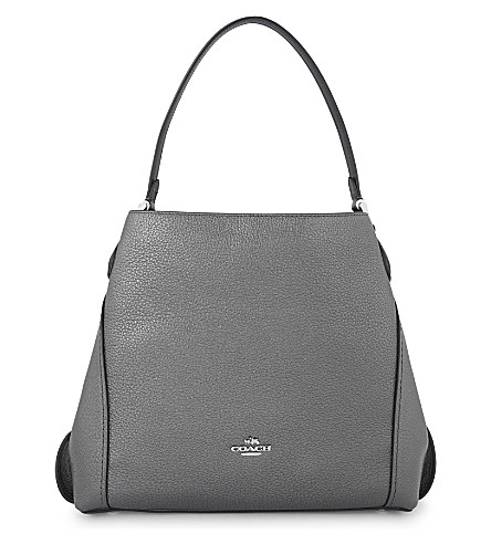 COACH Edie metallic leather shoulder bag (Graphite