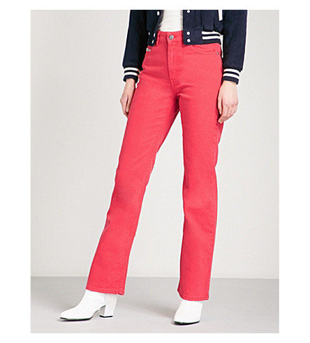 ALEXACHUNG Bootcut high-rise jeans (Washed+red