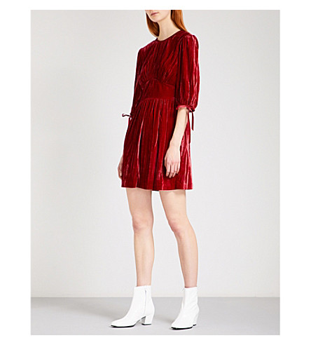 ALEXACHUNG Pleated crushed-velvet mini dress (Red