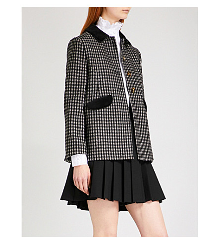 ALEXACHUNG Riding wool-blend tweed jacket (Black+beige