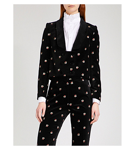 ALEXACHUNG Tuxedo floral-embroidered velvet jacket (Black+multi
