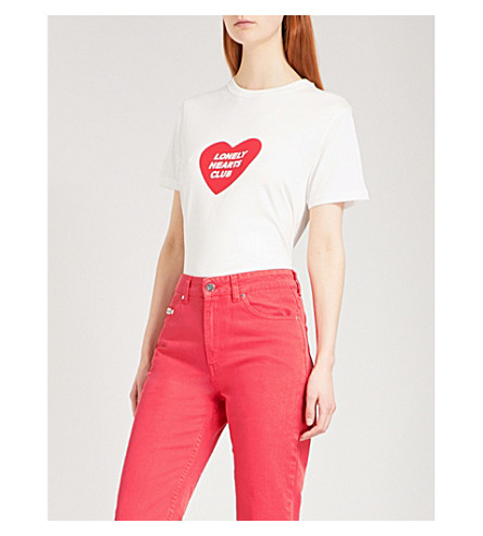 ALEXACHUNG Lonely Hearts Club cotton-jersey T-shirt (Ivory