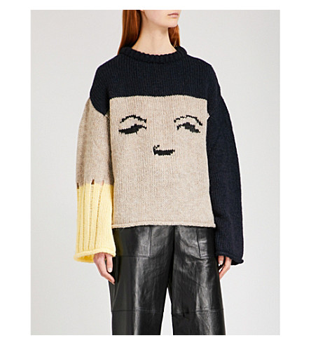 ALEXACHUNG Oversized face-intarsia mohair and wool-blend jumper (Multi