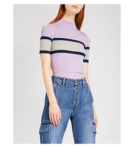ALEXACHUNG Striped slim-fit stretch-knit top (Lilic+green