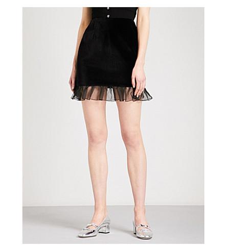 ALEXACHUNG Lace frill-hem high-rise velvet skirt (Black